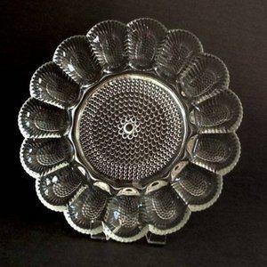 Vintage Indiana Glass Hobnail  Egg Platter Dish
